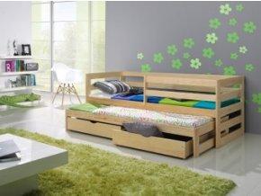 Dřevěná postel KAČKA 200X90cm s přistýlkou a úložným ...